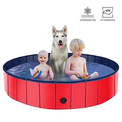 CHAIRLIN Hundepool Doggy Pool rutschfest, erschleißfest Swimming Pool Schwimmbecken Planschbecken Badewanne für Hunde Faltbarer Katzenpool aus Umweltfreundliche PVC mit Ablassventil 160cm