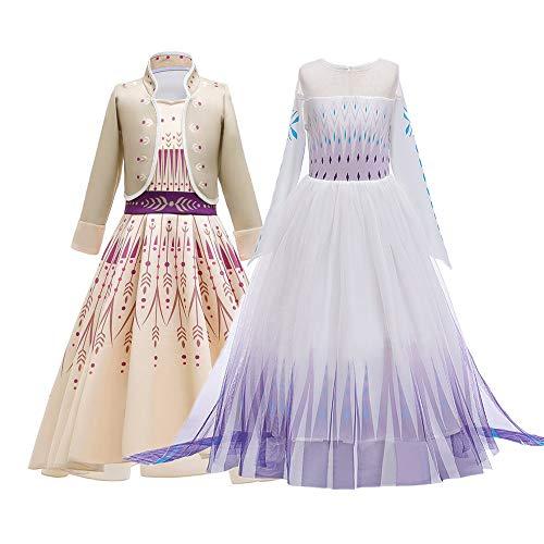 Lot 2 Robes Princesse Elsa Anna Robe Filles Déguisements Reine des Neige 2 Enfant Cosplay Halloween Noël Performance Fête Anniversaire Costume (Lot 2 Robes, 140)