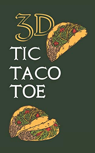 3D TIC TACO TOE: 180 Blank Game Grids Gift Book Green Taco Motif Convenient Glove Compartment & Purse Size With Instructions