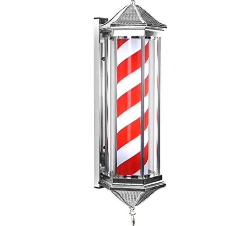 ZYLL Poste de Barbero Luminoso y Giratorio,85CM LED Poste de Barbero Blanco Negro Rotativo Rayas iluminadoras Ligero Impermeable Peluquería Tienda Tienda de letreros Lámpara de Pared,Rojo