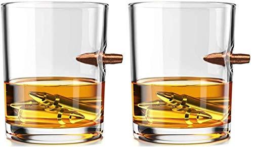 KPTKP 2 pcs 300ml Gafas de Whisky, Vidrio soplado a Mano sin Plomo, 308 decoración de Bala de Cobre sólido, Regalos para Hombres para Brandy Vodka ginebras de cócteles
