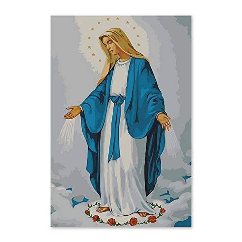Waofe Pintura al óleo digital diy por números dibujo pintado a mano foto la virgen maría, la madre de Jesús, la pintura al óleo igital