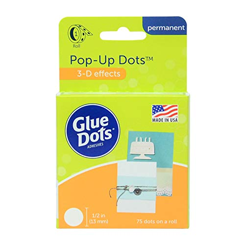 Glue Dots Doppelseitige Klebepunkte, Rolle mit 75 Pop Up Punkten, Permanent, Rund, 13 mm, Vielseitige Verwendung, DIY Basteln, Karten Gestalten und Scrapbooking