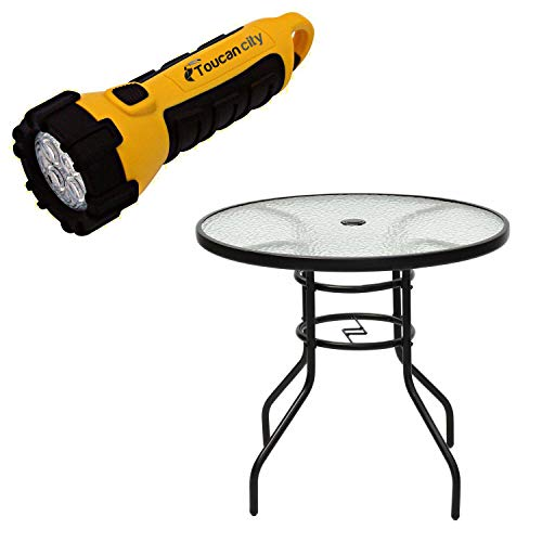 Toucan City LED Flashlight and Costway Steel Round Frame Patio Outdoor Bistro Table with Tempered Glass HW55021