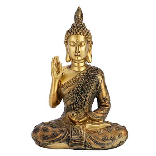 Meditating Buddha Statue, Buddha Statue Figurine, Mini Gold Buddha Statue, Thai Buddha Statue, Sitting Buddha Statue, Buddha Statue Decor 7.87' Tall Indoor/Outdoor Meditating Buddha Statuary Décor