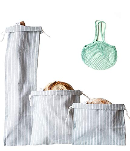 Bread Bags for Homemade Bread, Set of 3 Premium Quality Reusable Linen Bread Storage Bags with Ties + Gift Produce Bag for Groceries, Organic Bread Bags for Keeping Baguettes, Artisan Bread, Etc