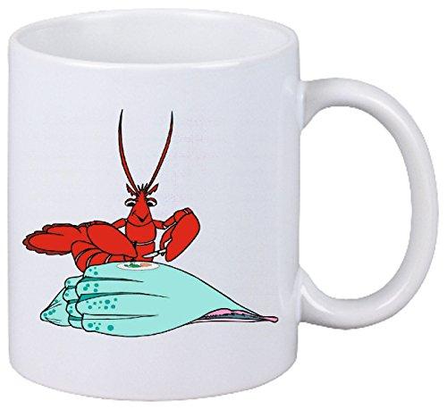 Reifen-Markt Kaffeetasse Motiv Nr. 11215 Hummer Mittagessen essend Cartoon Spass Fun Kult Top Cartoon Spass Fun Kult Top Keramik Höhe 9,5cm ? 8cm in Weiß