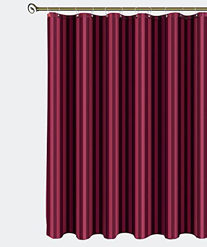 Biscaynebay Fabric Shower Curtains, Water Repellent Damsk Stripes Bathroom Curtains, Burgundy 72 by 72 Inches with 12 Hooks