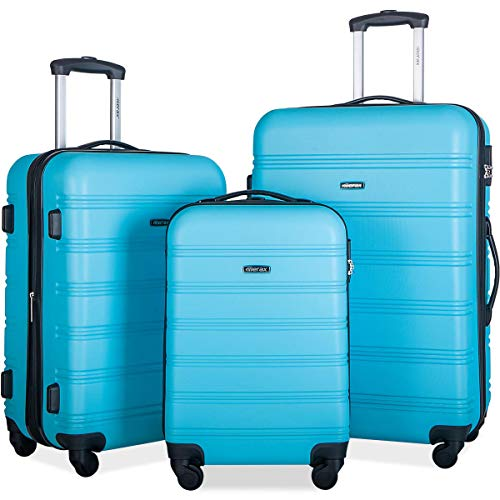 Merax Expandable Luggage Sets with TSA Locks, 3 Piece Lightweight Spinner Suitcase Set (Sky Blue)