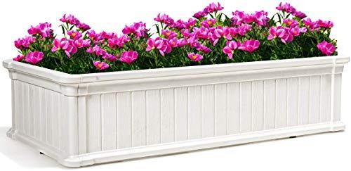 COSTWAY Maceta Elevada Cama Elevada Jardinera para Flores Plantas Vegetales Maceta de Rectangular para Jardín Patio Balcón (Blanco)