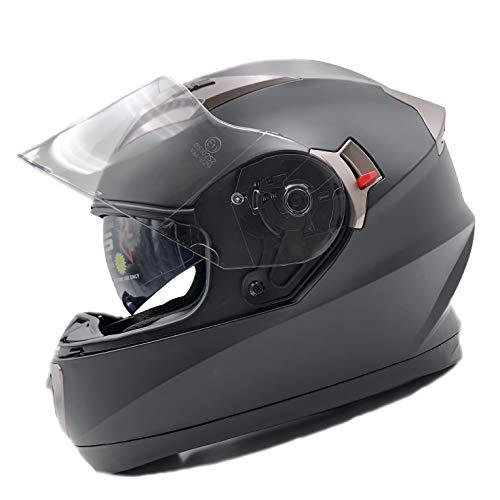 Nat Hut Casco Moto Integral ECE Homologado. Casco Scooter para Hombre y Mujer. Casco Unisex Negro de Motocicleta para Adultos con Doble Visera Anti-rasguños y Protección Rayos UV (L 58-60cm, Negro)