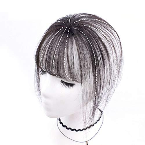 Echthaar Fringe Bangs One Piece Haarteil In Front Hair Extension Verlängerung natürliche glatt, Air Pony Hair Clip Haar Extension mit Seite Tempel Clip In Extensions...