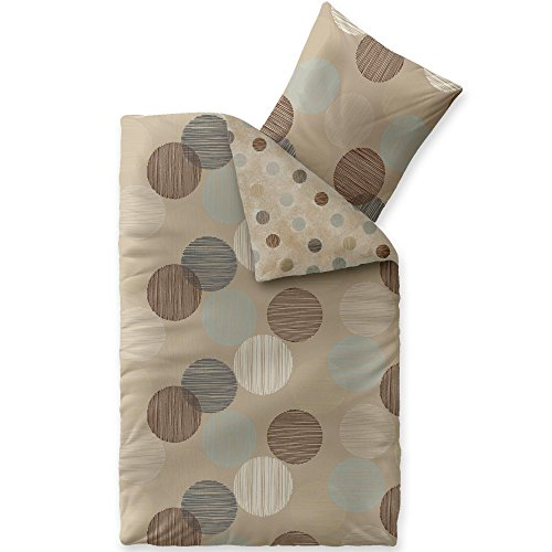 aqua-textil Trend Bettwäsche 135x200 cm 2tlg. Baumwolle Bettbezug Fara Punkte Beige Braun Türkis