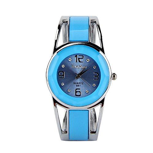 Elegante e raffinato orologio analogico al quarzo, da donna, con quadrante ornato di strass e cinturino a bracciale in acciaio INOX, acciaio inossidab