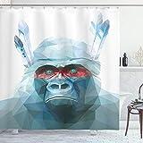 Ambesonne Psychedelic Shower Curtain, Gorilla...