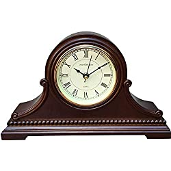 Vmarketingsite Mantel Clocks, Battery Operated, Silent Wood Mantle Clock with Westminster Chimes On The Hour, Solid Wooden Shelf Decorative Chiming Table Clock, 9 x 16 x 3