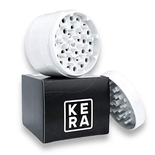 KERA® Keramik Grinder Crusher Kräutermühle   Typ A   ø 63mm   Haftfrei   Hygienische Nano Keramik Beschichtung   4-teilig   Premium Grinder Set   Für Pollen, Herb   49 Mahlzähne