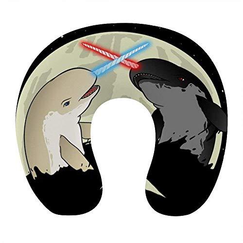 Almohada de Viaje de Espuma viscoelástica Suave, Almohada para el Cuello en Forma de U con Funda Lavable Que soporta el Cuello y Libera el Dolor, Lucha contra los narvales