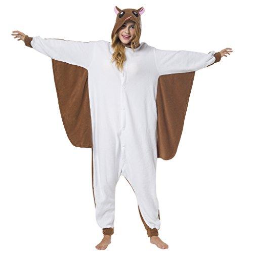 Katara-(10+ Modelos) Kigurumi Pijamas Disfraz de Animal Halloween Carnaval, Adultos, Color ardilla voladora, Talla 155-165cm (1744) , color/modelo surtido