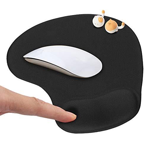 HOTSO Mauspad mit Silikon Gel Handauflage Komfortes Mauspad Ergonomisches Rutschfestes Gaming Mousepad mit Antisehnenscheidenprobleme für Computer Laptop PC - Schwarz