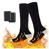 Calcetines Calefactables con 2 Pezzi Power Bank, 3 Niveles Temperatura Ajustable, para Hombre Mujer Invierno Calcetines para Esquí, Senderismo, Motocicleta, Caza, Bolas de Nieve