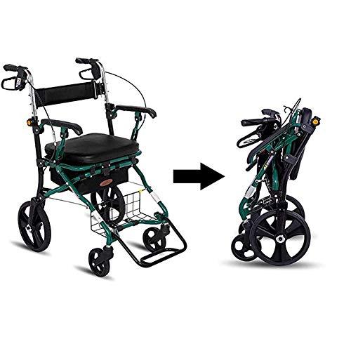 Opvouwbare Rollator Wandelframe met remmen en zitplaats,4 Wielen Winkelwagen Met Riethouder, Lichtgewicht Aluminium Wandelen Mobility Aid Voor Ouderen