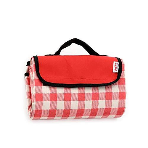 Coperta da picnic pieghevole Tappetino da campeggio Grande portatile impermeabile con manico Tappeto da spiaggia lavabile in lavatrice Misura per 4-6 persone Viaggi all'aperto 57''x79 '' Rosso