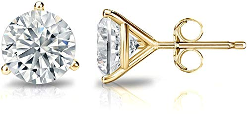 Martini Glass style Earrings with Post backs set in 14K White, Rose or Yellow Gold with Round Cut Diamonds grown in Lab (GHI, VS) for Women, Girls, Men & Teen. Free Appraisal Certificate.