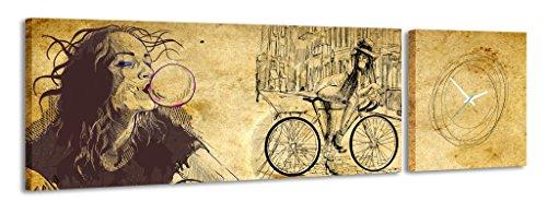 Reloj de pared panorámico Muchacha del globo con la pintura / el dibujo de la bici Viejo fondo del papel amarillo Vintage Escuela vieja