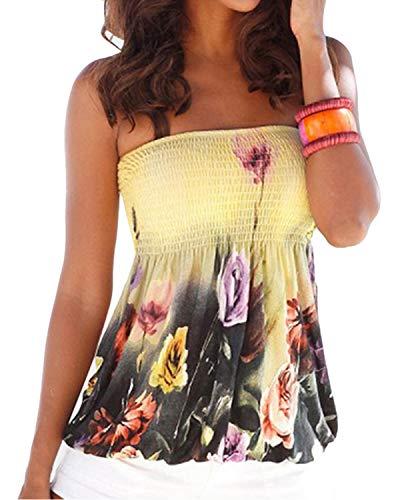 YOINS Sexy Oberteil Damen Bandeau top schulterfrei Oberteil Off Shoulder Sommer Blumen Sexy Top für Damen Gefaltete Tank Tops Schlauchshirt Beige M