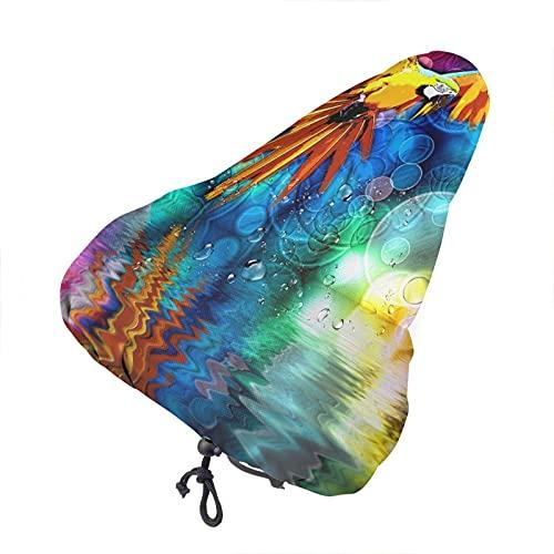 Bong6o Colorido Neon Parrot Unisex Extra Suave Durable Impermeable Gel Polvo Cubierta De Asiento De Bicicleta