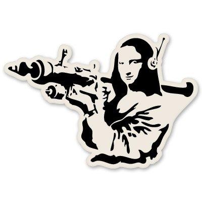 AK Wall Art Banksy Mona Lisa Bazooka Vinyl Sticker - Car Window Bumper Laptop - Select Size