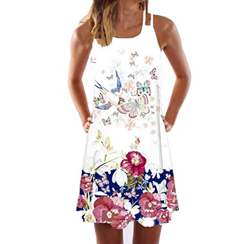 Dress for Womens Vintage Boho Summer Sleeveless Beach Printed Short Mini Dress,White,Medium