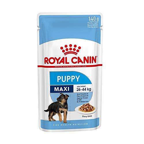 ROYAL CANIN Comida húmeda Puppy Maxi Trozos de Carne en Salsa para Cachorros de Razas Grandes - Caja 10 x 140 gr (Bolsitas)