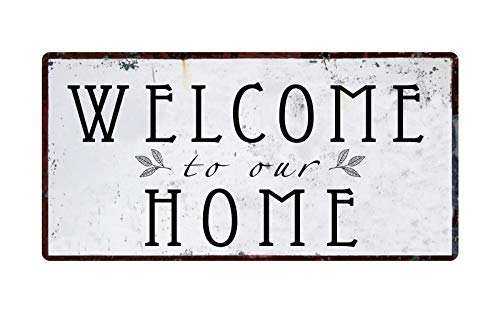 Deerts 1357HS Welcome to Our Home 5'x10' Aluminum Hanging Novelty Sign