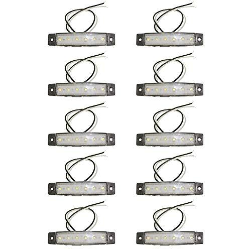 POHOVE Seitenmarkierungsleuchten LKW Bus Bootsanhänger Seitenblinker Blinker Licht 10pcs LED Anhänger Begrenzungsleuchten Hinten Marker Lampe Cab Marker Rv Marker Licht - Weiß, 24v