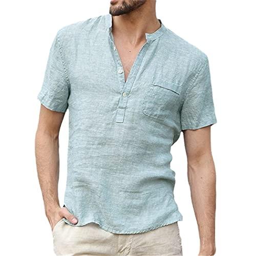 Algodón Lino Camisas Casual para Hombres Básico Clásico Blanco Camisa Manga Corta Stand Collar Transpirable Camisas, azul claro, XXL
