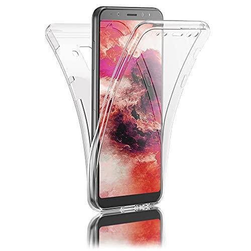 Kaliroo 360° Schutzhülle Klar kompatibel mit Samsung Galaxy A8 2018 Hülle, Transparente Silikon R&um Handyhülle Full-Body Hülle Slim Cover, Dünne Handy-Tasche Vorne und Hinten Phone Komplett-Schutz