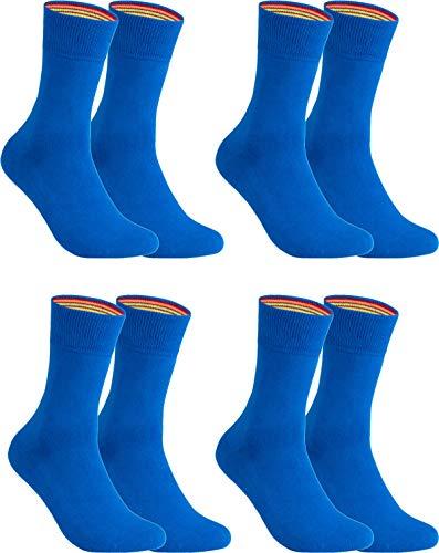 gigando – Socken Herren Baumwolle Uni Farben 4er oder 8er Pack in Premiumqualität – bunt farbige Strümpfe für Anzug, Business, Freizeit – ohne Naht - in blau Größe 43-46