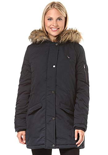 Vila Clothes Damen VIMUST Long Parka Jacket PB Mantel, Blau (Dark Navy), 36 (Herstellergröße: S)