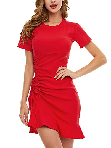 SATINIOR Women's Short Sleeve Ruched Bodycon Mini T-Shirt Dress Casual Crew Neck Mini Dress