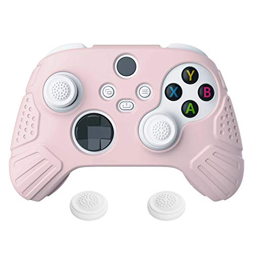 eXtremeRate PlayVital Guardian Edition Sakura Pink Ergonomic Soft Anti-Slip Controller Silicone Case Cover, Rubber Protector Skins with White Joystick Caps for Xbox Series S/X Controller