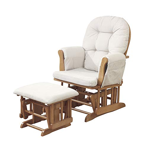 Kub Haywood Nursing Glider and Footstool (Natural Wood with Beige Upholstery) – Padded Hugging Cushions with Storage Pocket, Easy to Assemble, Smooth Gliding Motion