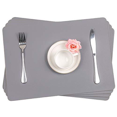 SHACOS 4er Set Tischset Pu Leder Platzset Grau Waschbar Tischset rutschfest Abwaschbar 43x30 cm Ideal für Küche, Fest usw.