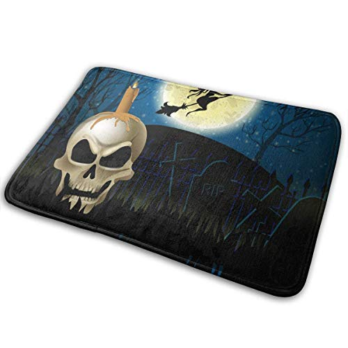 LXJ-CQ Extra weiche und saugfähige Teppiche, Badezimmerteppichmatte (31,5 x 19,5 Zoll) Halloween-Hintergrund der Hexe auf den Vollmond-Fußmatten Fußmatten
