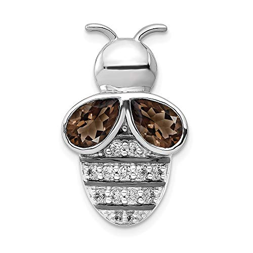14k White Gold Diamond and 1.40 Smoky Quartz Bee Chain Slide Pendant