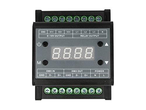 LEDLUX DD5303 Unidad de control DMX Dimmer LED con convertidor de señal 0-10V para señal DMX512 a 0-10V conexión de riel DIN