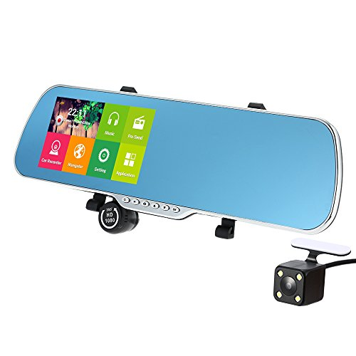 5' Android Smart System GPS Navigation Car Rearview Mirror DVR Dual Lens Front Rear 1080P 720P Camera Recorder with G-sensor Motion Detection Night Vision