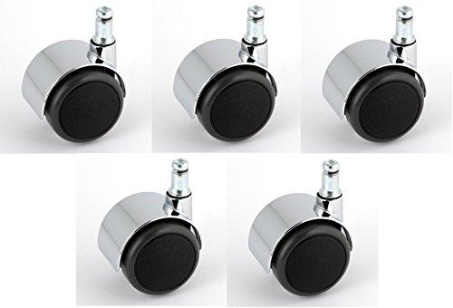 Satz Stuhlrollen Chrom 50 mm Klemmstift 11 ohne Bremse mit PU-Bereifung grau spurlos für harte Böden Hartbodenrolle