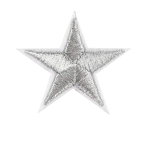 YA Uzeun   10 parches bordados con diseño de estrellas plateadas para pegar con plancha